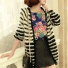 Black and White Stripe Wool Cardigan Sweaters For Girl