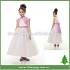 Lovely Satin Puffy Sleeve Satin Ball Gown Flower Girl Tulle Dress