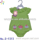 green 100% cotton baby girl's plain rompers