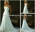 White Chiffon Embroidery A-neckline Wedding Gowns For Sale