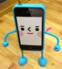 2012 NEW arrival Cute Appitoz 3D Robot Silicone Stand Case Cover for iPhone4 4G 4S