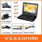 "Free Shipping 9.8"" Portable DVD Player, Game+USB+TV+SD, Swivel&Flip Dropshipping +Wholesale"
