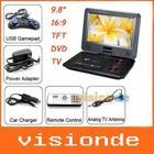 "Free Shipping 9.8"" Portable DVD Player, Game+USB+TV+SD, Swivel&Flip Dropshipping +Wholesale"
