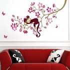 Monkey & Pink Flower Blossom Tree Reusable Wall stickers Girl Kid Nursery Decals
