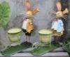 Metal rabbit bunny craft w/flower pot for garden decoration