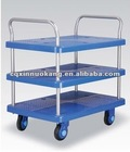 Hospital trolley suitable for surgical instrument with three tier shelves guardrail type
