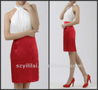 Halter Sheath Satin Mini White and Red Party Dress