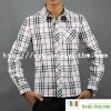 Men's Cotton Long Sleeve White Check Shirt