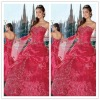 Fashion Strapless Prom Gown Ball-Gown Pleated Embroidery Tulle Sweetheat Chapel Train Quinceanera Wedding Dresses