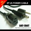 US 3pin UL Power Cable 18AWG