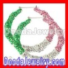 85mm AKA Style Clear,Pink &Green Crystal Bamboo Earrings Hoops Wholesale- BW6251