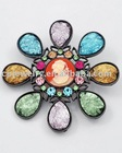 Hematite Tone / Lt.multi Color Rhinestone & Glass / Cameo & Flower Brooch