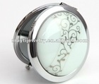 procelain ceramic jewelry assorted styles 2 sides mirror handmade Traditional chinese cutural ceramic round makeup mirror charm