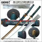 Handmade traditional carbon steel 1045 samurai katana sword with antique Japanese tsuba and engraved photos on blade JH043GD