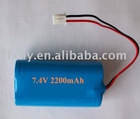 18650 7.4V 2200mAh Lithium-ion Battery 2S1P pack