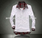 fashion casual male polo shirt with checked collar and cuff