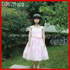 2-8 years spaghetti strap pink sash satin girl dress