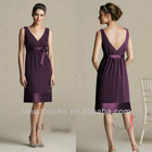 Deep V Neck Knee Length Ribbon Bow Zipper Closure Column Bridesmaid Dress Wedding Gown