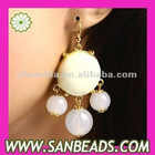 Fashion Silver Plated Cream Resin Bubble Earrings Wholesale