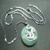Wholesale gemstone 925 Dragon Sterling silver Jade stone Necklace Jewelry
