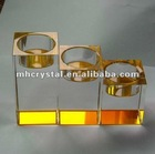 Yellow bottom Cube Shape Crystal tealight holder MH-1477
