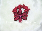 Real feather flower Black Stretch elastic hair Holder(HA-0039)