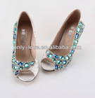 BS602 peep toe blue crystals party evening shoes,rhinestones bridal wedding shoes