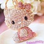 Rhinestone gemmy cat key chain/car pendant/bag ornament