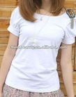 ladies plain white cotton and spandex tshirt