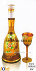 wine set with gold painting and flower piled