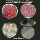 Fashion and cheap plastic round pocket mirror