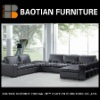 Big Modern Black Sofa with Handrail Cabinet Genuine Leather Sectional Sofas #0795