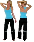 ladies fashion yoga wear/blue top and black pants