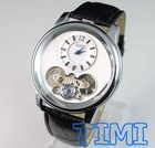 2012 New White Dial Mens Automatic Skeleton Mechanical Watch With Two Movement