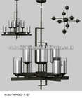 NEW Antique Iron Chandelier with Glass Shade