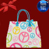 MONOGRAMMED PIXELATED PEACE SIGN LARG EQUILTED TOTE BAG WITH GREEN ROUND HANDLES, MOM-PEA008-4