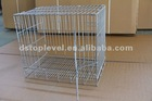 Stainless steel folding dog cage with plastic tray
