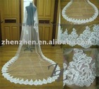 2011 newest style, customized one layer, tulle with lace applique edge bridal veil RV-005