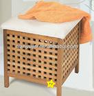 bathroom storage, solid wooden storage stool with 1 cotton cushion