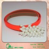2013 Fashion hot sell shiny neon orange PU belts with pearl beads for children in kid's garment