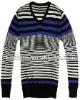 2012 V-neck stripe pullover mens sweater