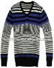2012 V-neck stripe pullover mens sweater