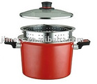 steel enamelled cookware--22cm stock pot with S/S drainer
