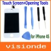 Replacement White LCD Screen + Touch Digitizer Panel +Outer Glass + Frame Preassembled+Opening Tools for iPhone 4 Free Shipping