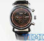 Luxury Automatic Mens Self Winding Leather Mechanical Skeleton Watches New 2012