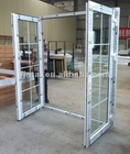 French door with grill design,UPVC exterior open double swing doors ,french door with side panle