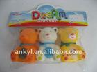 3 plastic bath mini toy bears with sound