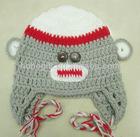 Winter Cute Animal Crochet baby monkey hat