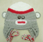 Winter Cute Animal Crochet baby monkey hat