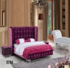 Modern Style black color fabric diamond Bed with bed end stool 919B#